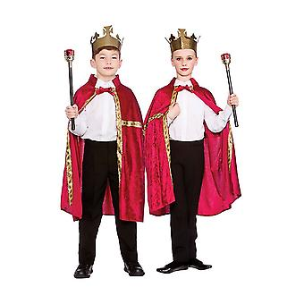 Deluxe rød velour badekåbe & Crown Unisex Childrens Fancy kjole kostume