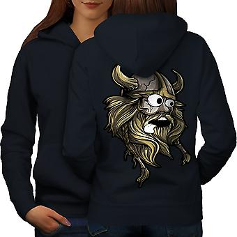 Scared North Joke Women NavyHoodie Back | Wellcoda