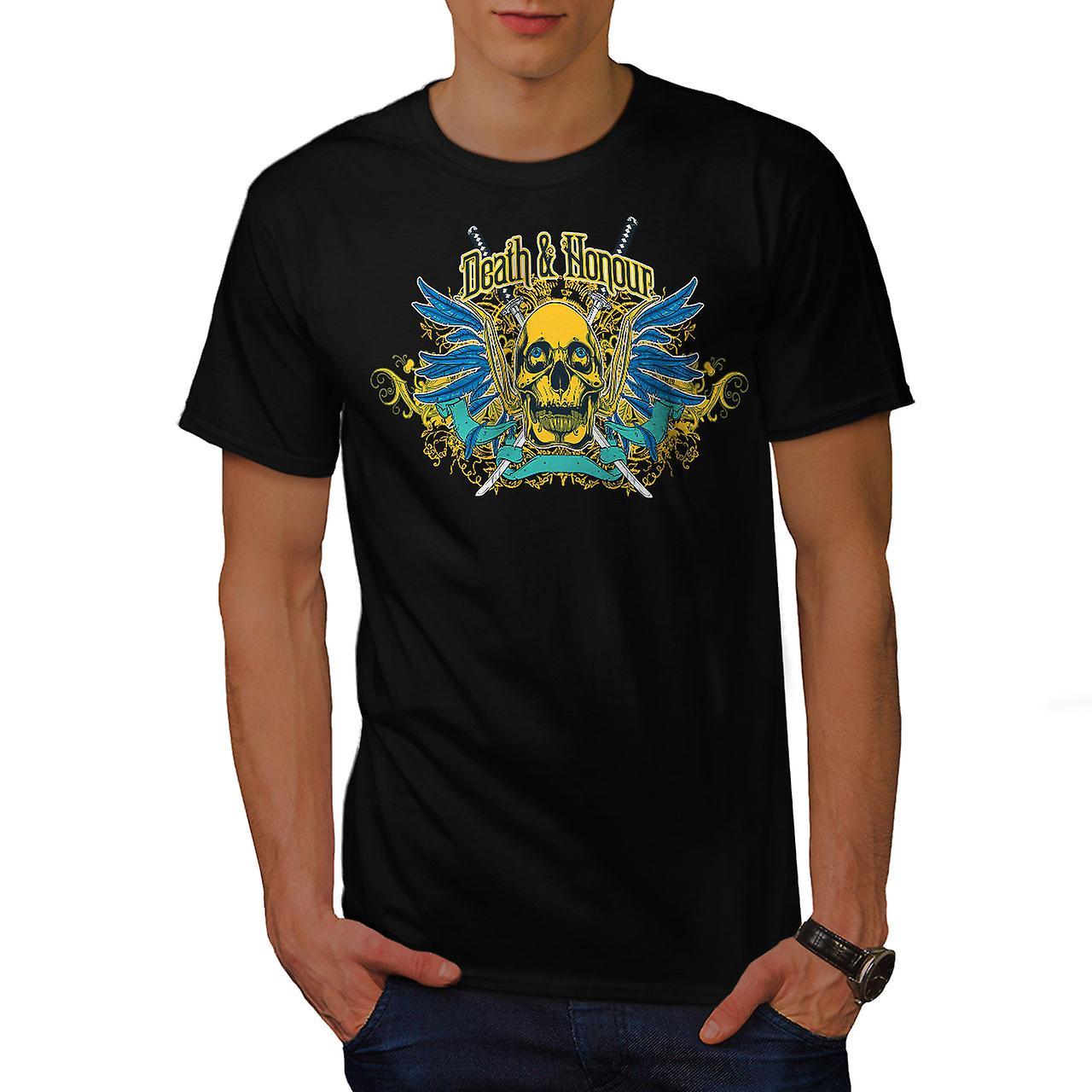 Death Honour Biker Skull Men Black T-shirt | Wellcoda