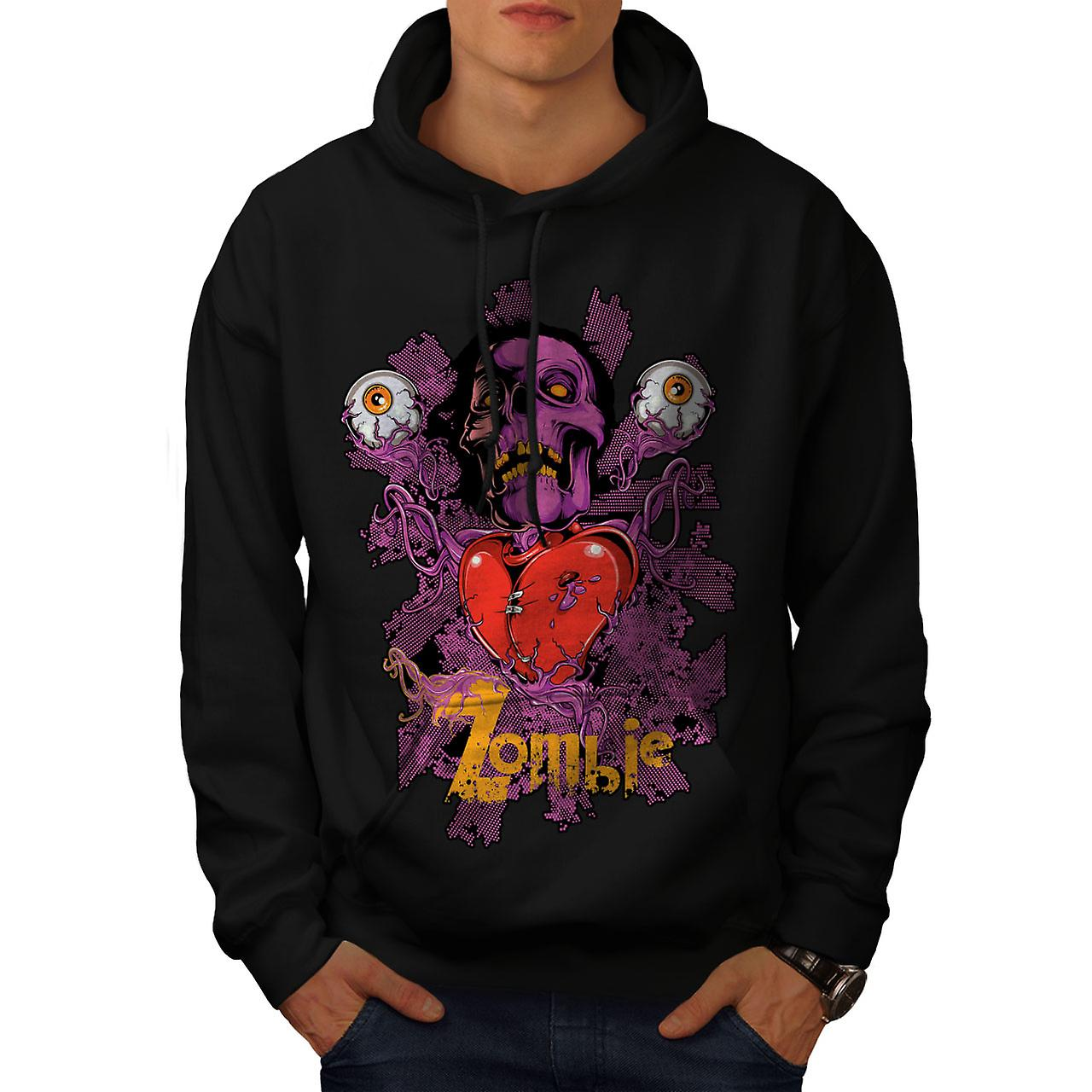 Badass Heart Eye Zombie Men Black Hoodie | Wellcoda