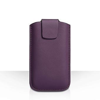 Funda de cuero PU de YouSave Lichee (L) - púrpura