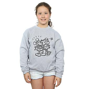 Disney Girls Mickey And Minnie Mouse Kiss Sketch Sweatshirt