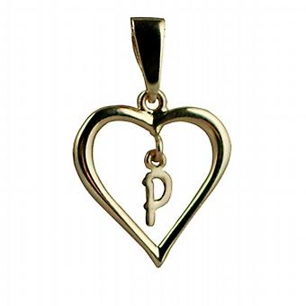 9ct Gold 18x18mm heart Pendant with a hanging Initial P
