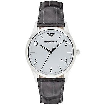 Emporio Armani hombre caballeros reloj correa de cuero gris Dial de plata AR1880