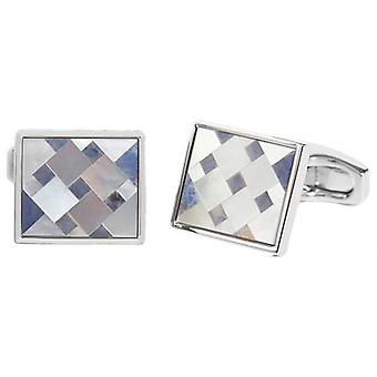 Simon Carter Mother of Pearl Cubist Mosaic Cufflinks - Blue/White/Silver
