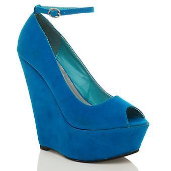 Ajvani womens high wedge heel ankle strap peep toe platform court shoes sandals