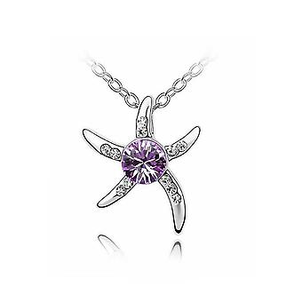 Womens Silver Starfish Necklace Purple Crystal Stone Gift Stocking Filler