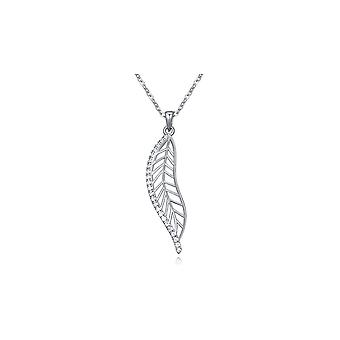 Pendant Crystal Cubic Zirconia white feather and Rhodium plate