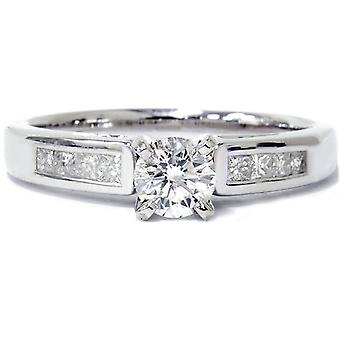 7/8ct Princess Cut Cathedral Diamond Engagement Ring 14K White Gold