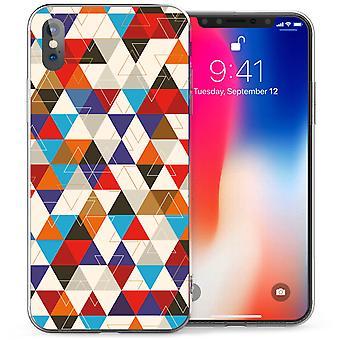 iPhonegeval X geometrische driehoeken TPU Gel - blauw / rood