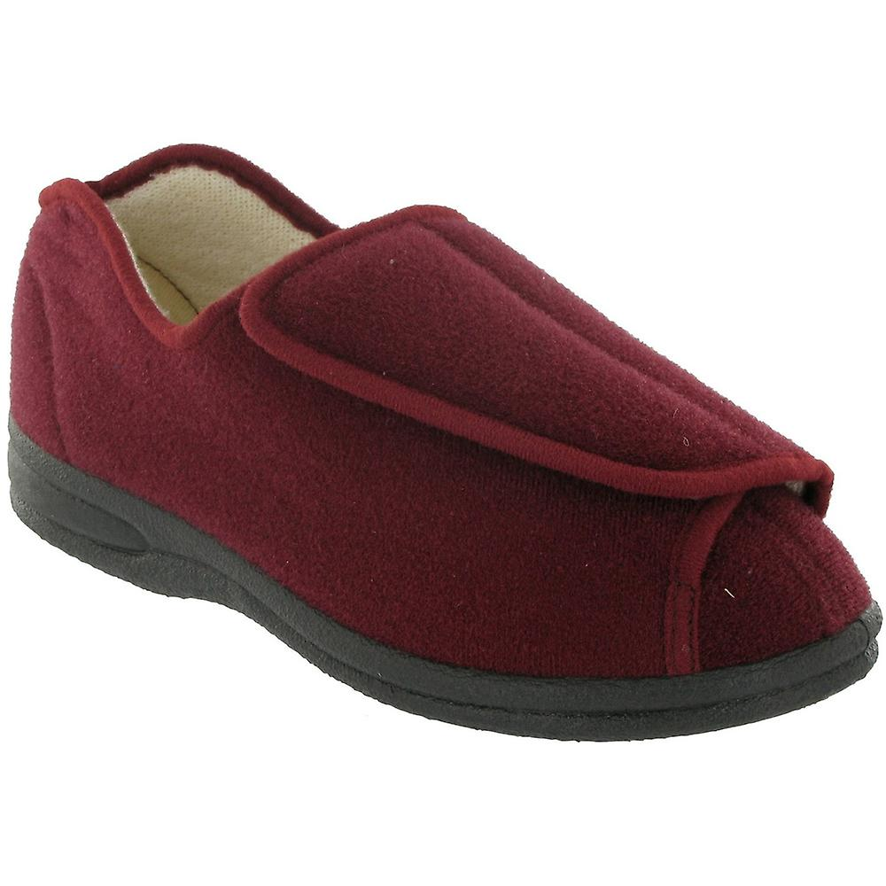 Mirak Ladies Fife Touch Fastening Textile Bootie Slipper Red