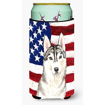 Patriotic USA Siberian Husky Tall Boy Beverage Insulator Hugger