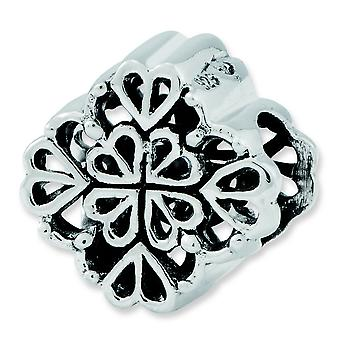 Sterling Silver Polished Antique finish Reflections Four Leaf Clover Bali Bead Charm