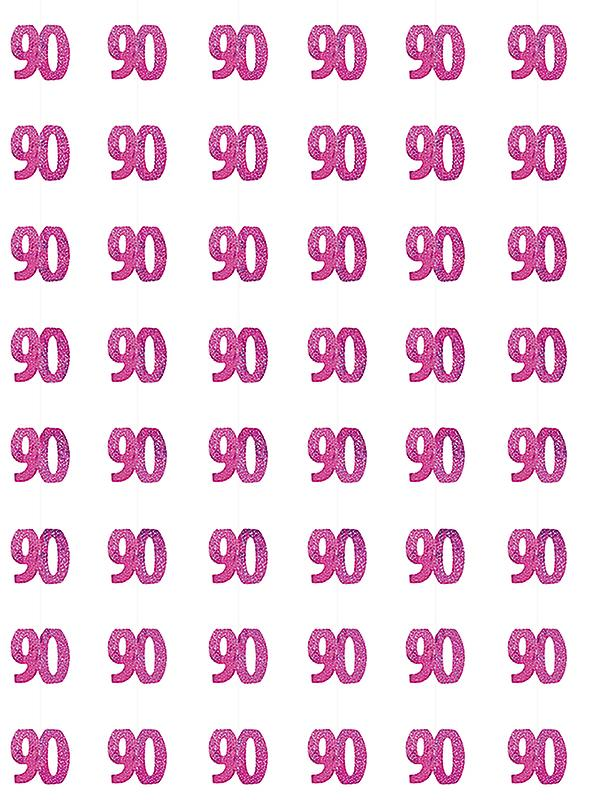 Birthday Glitz Pink - 90th Birthday Prism Hanging Decoration