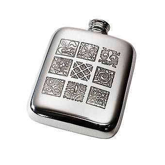 4Oz Medieval Tile Pewter Pocket Flask