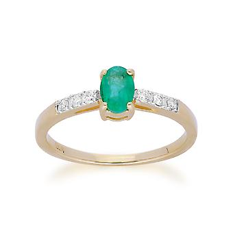 Gemondo 9ct Yellow Gold Emerald & Diamond Oval Cut Solitaire Ring
