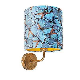 QAZQA Vintage Wall Lamp Gold with Shade 20/20/20 Velvet Butterfly with Gold