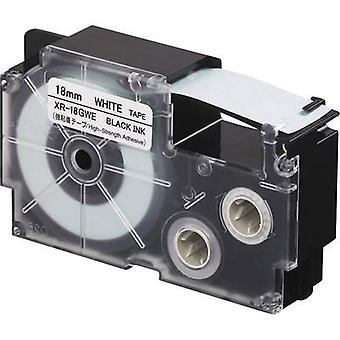 Étiquetage couleur Casio XR XR-18GWE bande de ruban adhésif (colle extra-forte): police blanc couleur: noir 18 mm 5,5 m