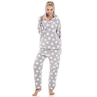 Camille Grey Supersoft Velour Fleece White Star Print Pyjama Set