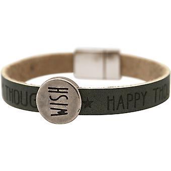Gemshine Damen Armband Wunsch WISHES Grau Anthrazit Magnetverschluss