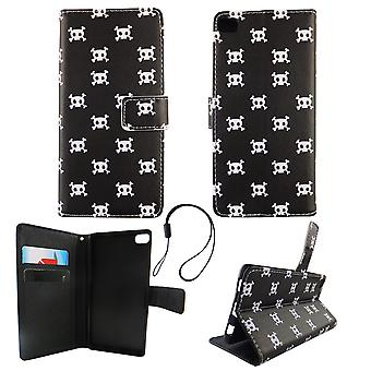 Mobile phone case pouch for mobile Huawei P8 polka dot skull