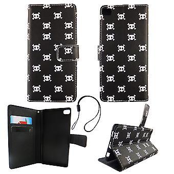Handyhülle Tasche für Handy Huawei P8 Polka Dot Totenkopf