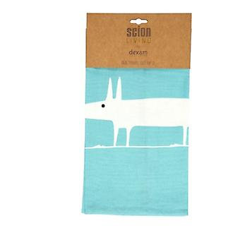 Scion Mr Fox Teal and White Set of 2 Tea Towels