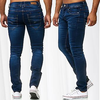 Mens Jeans Pants Stretch Denim Classic Slim Fit Used Regular Waist Trousers