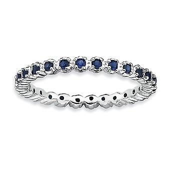 925 Sterling Silver Polished Prong set Patterned Rhodium-plated Stackable Expressions Created Sapphire Ring - Ring Size: