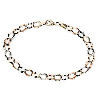 Elements Gold Flat Link Bracelet - Gold/Rose Gold/White Gold