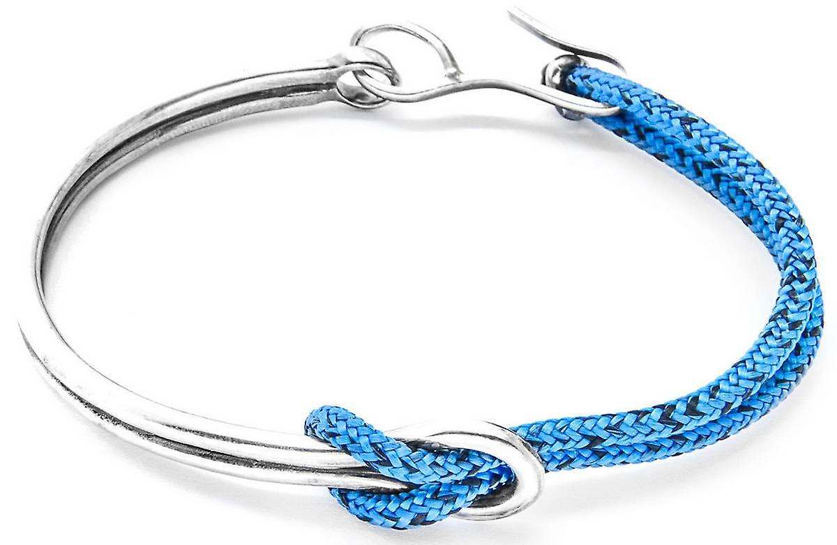 Anchor and Crew Tay Silver and Rope Bangle - Blue Noir