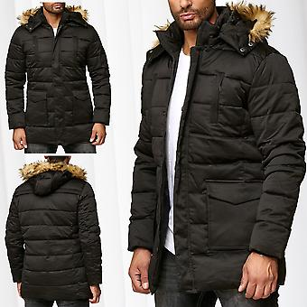 5149933bba77 Mens Parka Winter Jacket Coat Lined Warming Coat Fake Fur Hood Outdoor  Jacket