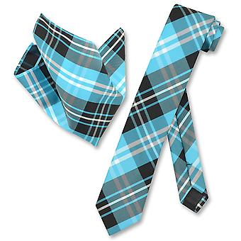 Vesuvio Napoli Skinny Necktie Plaid Design Mens Neck Tie & Handkerchief