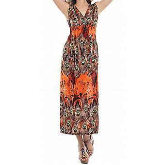Waooh - mode - lange jurk gedrukte pauwenveren