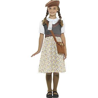 Traje de muchacha de escuela de evacuado, gris, con vestido, sombrero, bolsa y etiqueta de nombre