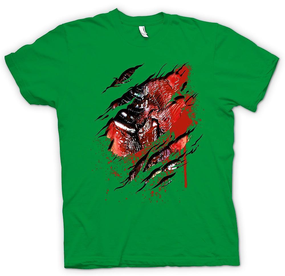 Heren T-shirt-Zombie Walking Dead ribben en hart gescheurd Design