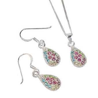 The Olivia Collection Sterling Silver Crystals Tear Drop Earring & Pendant Set