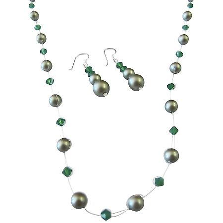 Designer Swarovski Jewelry Clover Crystals w/ Green Pearls Jewelry Set