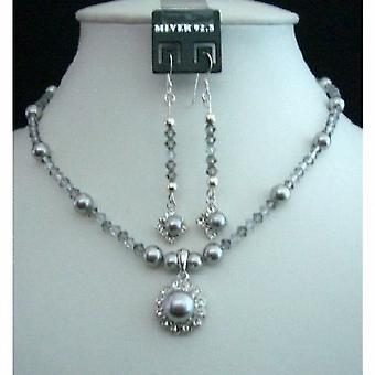 Grå Tone Swarovski grå perler & krystaller vedhæng halskæde & øreringe