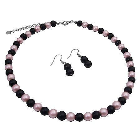 Black Pearls Earrings w/ Pink Black Pearls Beads Necklace Jewelry Set