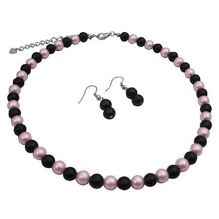 Black Pearls Earrings w/ Pink Black Pearls Beads Necklace Jewelry Set