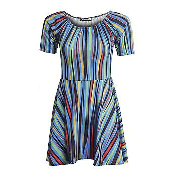 New Ladies Funky Print Vertical Stripe Low Neck Women's Skater Doll Dress