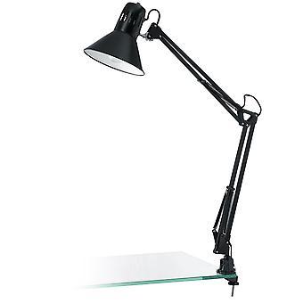 Eglo - acabamento de Firmo 1 luz mesa moderno clip lâmpada brilhante preto ajustável EG90873