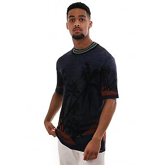 Scotch & Soda Knitted Ss Cn Top With Moody Hawaiian Print