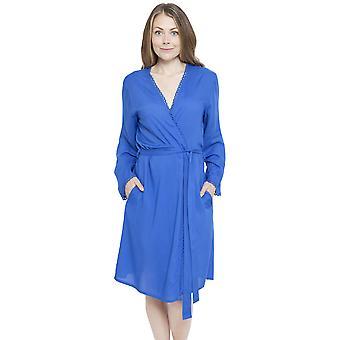 Cyberjammies 4137 Women's Mia Blue Dressing Gown Loungewear Bath Robe Kimono
