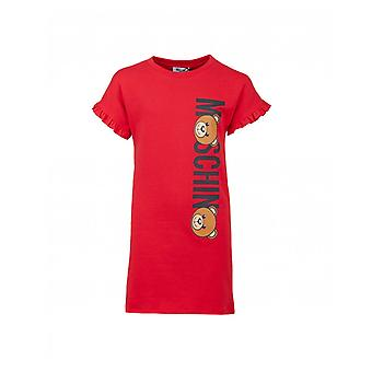Moschino Fluted Sleeve Toy Logo Jersey Dress