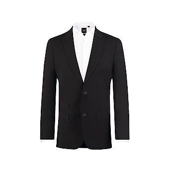Dobell Mens schwarzen Anzugjacke passen regelmäßige Fahrleistung/Notch Revers