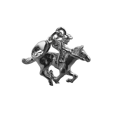Silver 17x21mm galloping Horse and Jockey Charm with a lobster catch