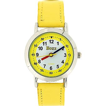 Boxx Girls Easy Read Analogue White Dial & Yellow Fabric Strap Buckle Watch