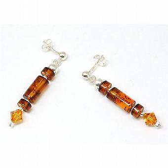 The Olivia Collection Sterling Silver Cylinder Amber Bead Drop Earrings